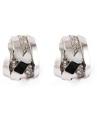 Mattioli 18kt White Gold Diamond Band Hoop Earrings - Metallic