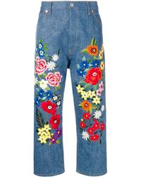 Junya Watanabe Floral-embroidered Jeans - Blue