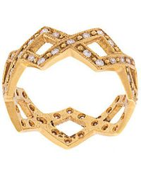 Cathy Waterman 22kt Gold And Diamond Braided Ring - Metallic