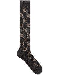 Gucci Lurex GG-print Socks - Black