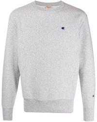 Champion Sweater Met Geborduurd Logo - Grijs