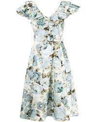 P.A.R.O.S.H. Платье С V-образным Вырезом И Оборками - Синий