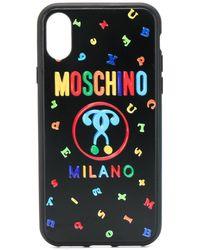 Moschino Funda de iPhone X/XS con signo de interrogación doble - Negro