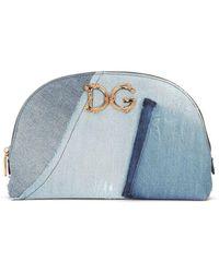 Dolce & Gabbana Patchwork Design Denim Make-up Bag - Blue