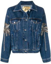 MSGM - Crystal Embellished Denim Jacket - Lyst