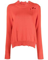 Maison Margiela Ripped-detail Knitted Jumper - Orange