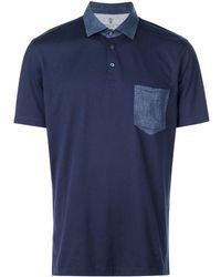 Brunello Cucinelli チェストポケット ポロシャツ - ブルー
