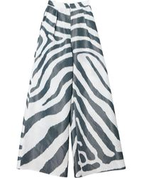 Carolina Herrera Pantalones de talle alto con estampado de cebra - Blanco