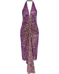 Halpern スパンコール ドレス - パープル