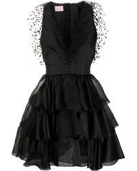 Giamba Silk Ruffle Flared Mini Dress - Black