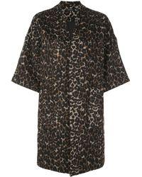Natori Leopard Felted Wool Kimono - Brown