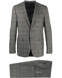 Tonello チェック ツーピース スーツ - グレー