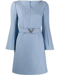Valentino ロゴ ベルテッド ドレス - ブルー