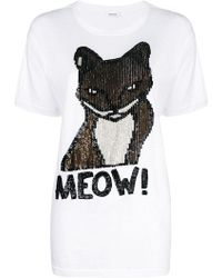 P.A.R.O.S.H. - Sequin Embellished Cat T-shirt - Lyst