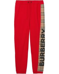 Burberry Cotton Sweatpants - Red