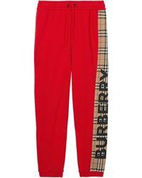 Burberry Спортивные Брюки Со Вставкой В Клетку Vintage Check - Красный