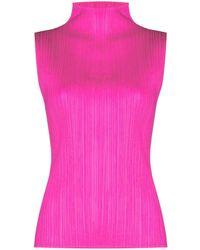 Pleats Please Issey Miyake Плиссированный Топ С Высоким Воротником - Розовый