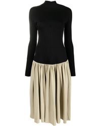 Vejas Two-tone Longsleeved Midi Dress - Black