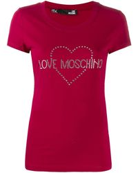 Love Moschino Embellished logo T-shirt - Rouge