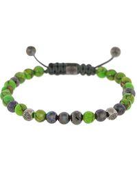 Shamballa Jewels 18kt Black Gold, Tsavorite, Turquoise, Opal And Diamond Beaded Bracelet - Green