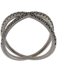 Eva Fehren 18kt White Gold The Shorty Diamond Ring - Black