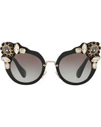 Miu Miu Runway Crystal-embellished Sunglasses - Black