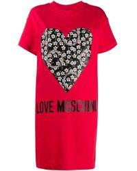 Love Moschino - ハートプリント Tシャツドレス - Lyst