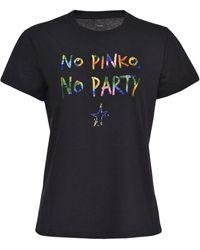 Pinko No , No Party T-shirt - Black