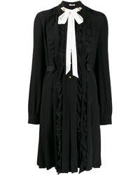 Miu Miu ドレープ ミニドレス - ブラック