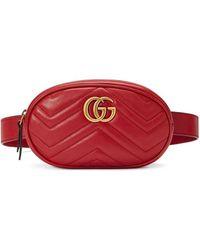 Gucci Riñonera GG Marmont en matelassé - Rojo