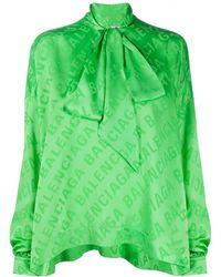 Balenciaga Блузка С Логотипом - Зеленый