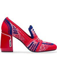 Prada Gebreide Loafers - Rood