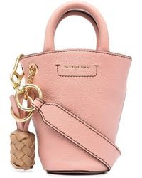 See By Chloé Cecilia Mini Leather Bucket Bag - Pink