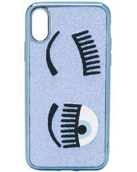 Chiara Ferragni Flirting Iphone Xs Hoesje Met Glitter - Blauw