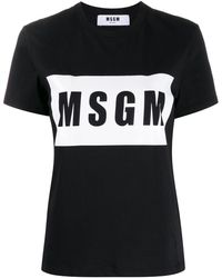 MSGM - ブラック ボックス ロゴ T シャツ - Lyst