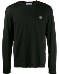 Stone Island Sweater Met Geborduurd Logo - Zwart