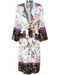 Black Coral Floral Kimono Duster Coat - Multicolour