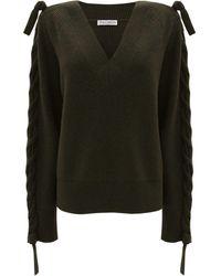 JW Anderson Plait-detail V-neck Sweater - Black