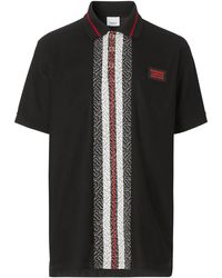 Burberry モノグラムストライプ ポロシャツ - ブラック
