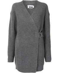 Izzue Intarsia-knit Wrap Cardigan - Grey