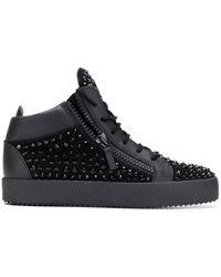 Giuseppe Zanotti High-Top-Sneakers mit Nieten - Schwarz