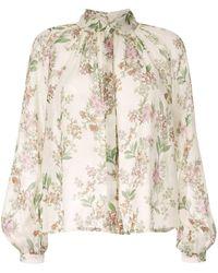 Giambattista Valli Floral Embroidered Silk Blouse - Natural