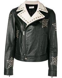 Saint Laurent Байкерская Куртка С Заклепками - Черный
