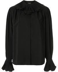 Giambattista Valli Silk Frilled Collar Blouse - Black