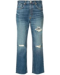 Rag & Bone Distressed Cropped Jeans - Blauw