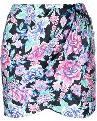 For Love & Lemons Jupe portefeuille à fleurs - Bleu