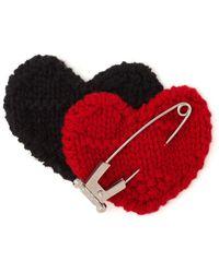 Prada Gestrickte Brosche im Herz-Design - Rot