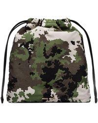 Miu Miu Bucket-tas Met Camouflageprint - Groen