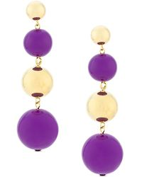 Eshvi Ball Drop Earrings - Purple