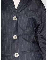 Ganni ストライプ シングルジャケット - ブルー